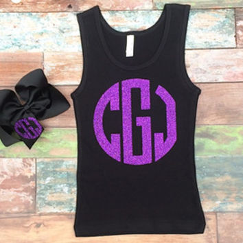 Monogram Tank top, Glitter Monogrammed Tank Top, Preppy, Southern Belle, Bow, Tank top, Girls, Teens, Ladies, Twirler, Dance, Baton Shirt