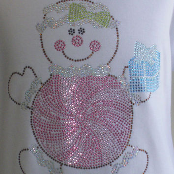 "Pastel Christmas pink 7.5"" Gingerbread girl iron on rhinestone TRANSFER for t shirt"