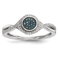 Sterling Silver Blue & White Diamond Cluster Halo Twist Ring