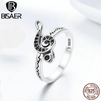 BISAER 100% 925 Sterling Silver Music Melody Notes Finger Rings for Women Wedding Band Female Engagement Ring Jewelry GXR200