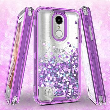 LG Aristo 2 Plus Case, Aristo 2, LG Tribute Dynasty, Rebel 3, Zone 4, LV3 2018 Case,Hard Clear Glitter Sparkle Flowing Liquid Heavy Duty Shockproof Three Layer Protective Bling Girls Women Cases for LG Aristo 2 - Purple