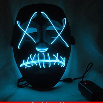 Halloween Funny light up glowing PVC mask EL wire Vendetta mask Fashion V Cosplay MASK Costume Guy Fawkes Anonymous mask
