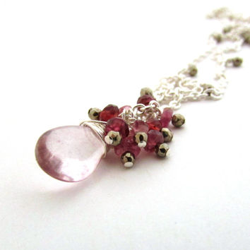 Pink amethyst necklace, February birthstone, silver pyrite, red garnet and pink tourmaline cluster, pink amethyst gemstone cluster necklace