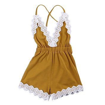 2017 New Cute Newborn Baby Clothes 0-24M Infant Bebes Lace Romper Girl Sleeveless V-Neck Jumpsuit Sunsuit Outfit Kid Clothing