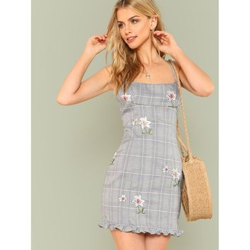 Glen Plaid Floral Embroidered Spaghetti Strap Dress GREY
