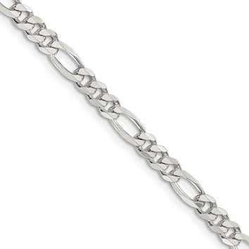 4.75mm, Sterling Silver, Pave Flat Figaro Chain Necklace