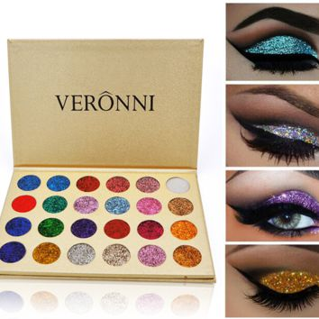Professional 24 Colors Rainbow Make Up Cosmetic Eyeshadow Magnet Palette Glitter Injections Pressed Glitters Single Eyeshadow Diamond