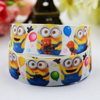 "7/8"" 22mm Minions Cartoon Printed grosgrain ribbon party decoration satin ribbons Hairbow sewing supplies OEM 10 Yards X-00603"