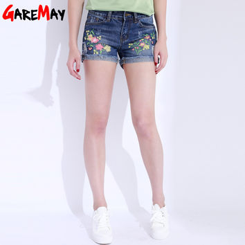 Denim Shorts Embroidery Curling Short Jeans Summer Ripped Womens Cotton Straight Shorts Flower Pantalones Cortos Mujer GAREMAY