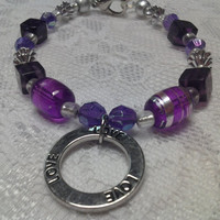 Purple Love Glass Bead Bracelet