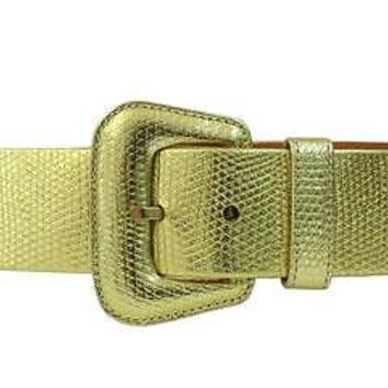 GIVENCHY Snake Embossed Metallic Leather Belt, XSmall