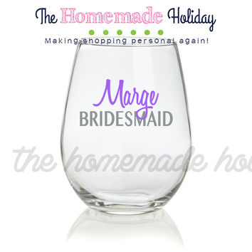 Personalized Bridal Party Stemless Wine Glasses