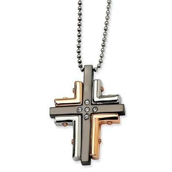 Stainless Steel Black & Rose Gold-plated w/ CZs Cross 22in Necklace