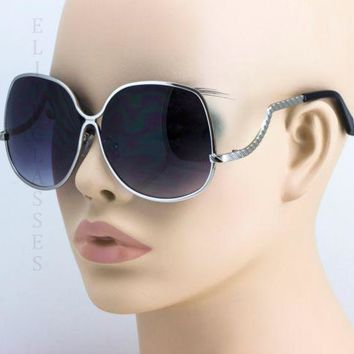 70'S Retro Vintage Large Big Oversized Metal Frame Black Lens Women Sunglasses