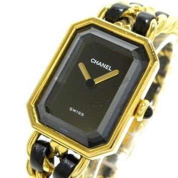 Auth CHANEL Premiere H0001 Black Gold C.H.00454 Women's Wrist Watch