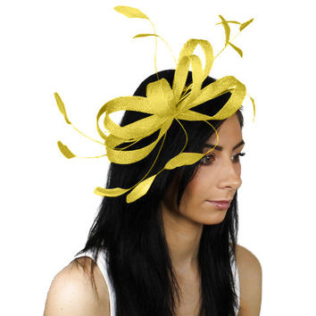 Sinamay Butterfly Yellow Fascinator Hat for Weddings, Races, and Special Events With Headband