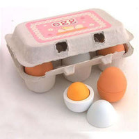 6pcs Wooden Eggs Yolk Pretend Play Kitchen Food Cooking Children Kid Toy Gift