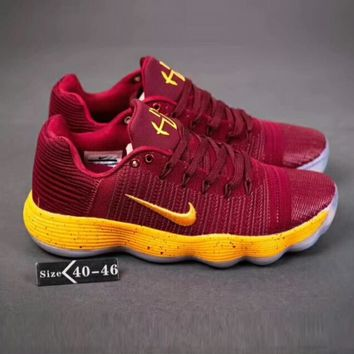 NIKE HYPERDUNK LOW Fashion Man Leisure Sport Basketball Shoes Sneaker Wine Red Gold Hook I-A-YYMY-XY