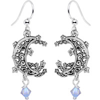 Handcrafted Celestial Moon Fish Hook Earrings Created with Swarovski Crystals | Body Candy Body Jewelry