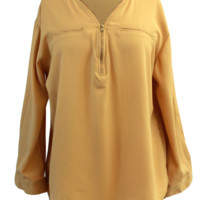 Plus Size Chiffon Button-Cuff Sleeve Blouse Top