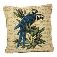 DaDa Bedding Parrots In Love Blue Macaw Bird Elegant Throw Pillow Cushion Cover - 1-Piece - 18""