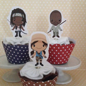 The Walking Dead Party Cupcake Topper Decorations - Set of 10
