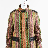Etro Multicolor Leather Trimmed Quilted & Striped Zipped Coat