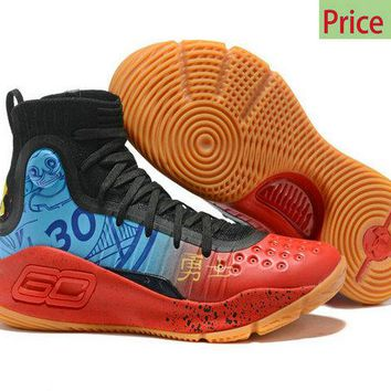 nike sneakers vintage Mens Under Armour Curry 4 CNY 2018 Mid Basketball Shoes Black Blue Red Brown sneaker