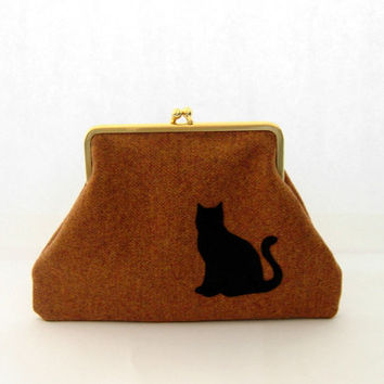 cat tweed kiss lock wallet , pumpckin orange pure wool tweed fabric tweed coin purse