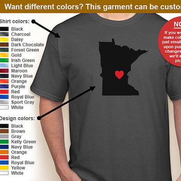 City and State Pride (Choose Any State/Place Heart Anywhere) T-shirt -- Any color/Any size choice - Adult S through 5XL, Youth XS through XL