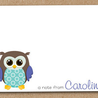 Personalized Owl Note Cards Custom set of 8 by Luv2ScrapForU