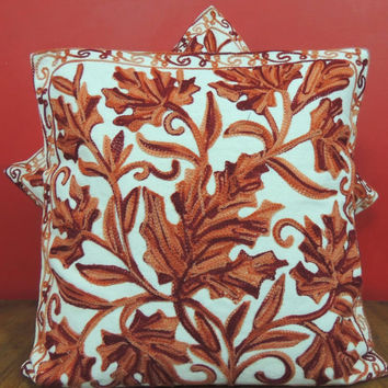 Rust Orange Pillow Cover/Embroidered Throw/Euro Sham Cover/Cushion Cover/16x16/20x20/Floral cushion cover/Round Pillow/Accent Pillow/Oblong