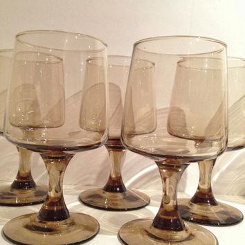 Mod Mid Century Smoked Libby Glass Large Wine or Water Set of 8