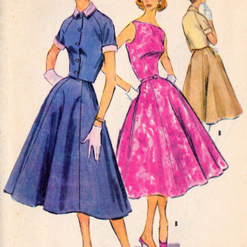1950s Misses Rockabilly Lolia Shirtwaist Dress with Matching Bolero Vintage Sewing Pattern McCalls 3533 bust 32 uncut