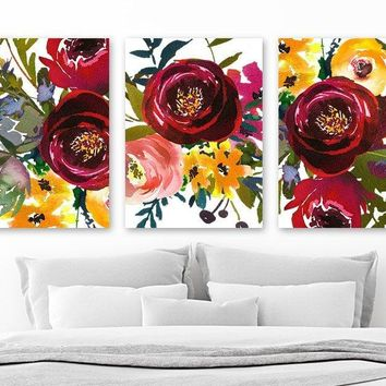 WATERCOLOR Floral Wall Art, Watercolor Flower Art, Watercolor Decor, Floral Bouquet Decor, Floral Artwork, Set of 3 Canvas or Print Pictures