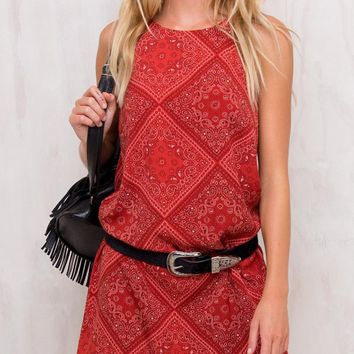 Red Geo-tribal Print Spaghetti Strap Shift Mini Dress