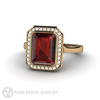 Red Garnet Ring Emerald Cut Bezel Diamond Halo Garnet Engagement Ring 14K or 18K Gold January Birthstone Gemstone Ring