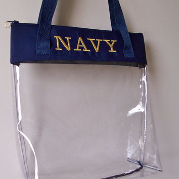 NEW**Navy Metallic Gold Monogram Clear Security Stadium Regulation Size Zipper Tote/Bag/Purse/Carry All/Game Day/Sports/College/Gift Idea