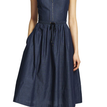Drawstring Waist Fit and Flare Chambray Dress - Adrianna Papell