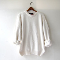 vintage creamy white sweater. slouchy cotton sweater. pullover loose knit sweater. boyfriend sweater.
