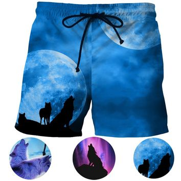 Galaxy Wolf 3d Print Men Beach Shorts Night Moon Wolves Howl Mens Shorts Mesh Short Pants For Tennis Badminton Basketball