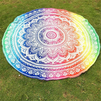 Multi-Color Bohemian Round Hippie Tapestry Beach Towel