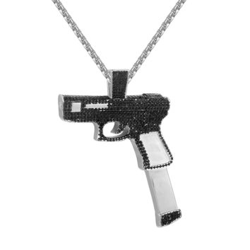 Black& White Gun Pistol Magazine Clip Charm Pendant  Necklace