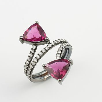 14k White Gold Rubellite Ring
