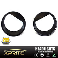 Xprite Black Bezels Front Light Headlight Angry Bird Style Trim Cover ABS For Jeep Wrangler JK JKU 2007-2015 Sports, Sahara, Freedom & Rubicon - Pair