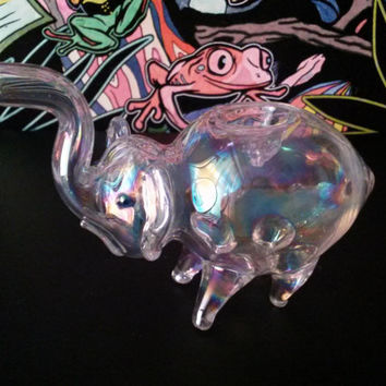 Silver Fumed Glass Elephant Pipe - Smoking bowl Color Changing