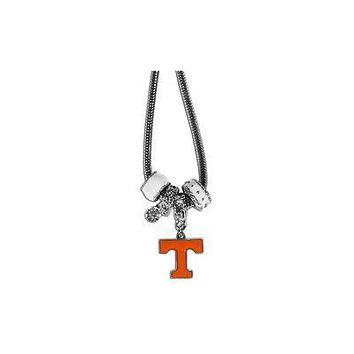 "Tennessee Volunteers Euro Bead Necklace Silver Tone 18"" Snake Chain"