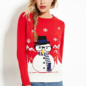 Pullover Hot Sale Christmas Round-neck Long Sleeve Red Ugly Christmas Sweater  [9475940484]