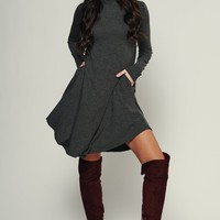 Get With It Shift Dress (Charcoal)