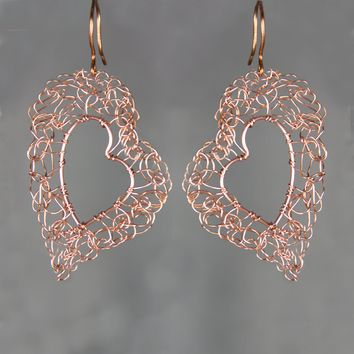Copper heart crocheted wiring large hoop earring handmade US freeshipping Anni Designs